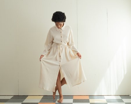 Sunja Link Shirt Dress with Tie