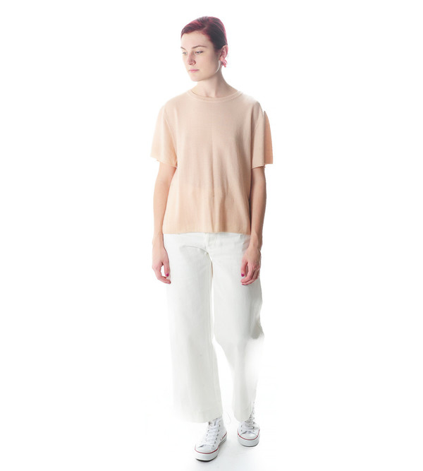 Ryan Roche Nude Cashmere T-Shirt Sweater