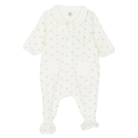 KIDS Petit Bateau Pyjamas With Feet - White With Elephant Print