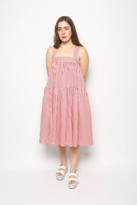 Leur Logette Striped Tiered Dress - Red/White