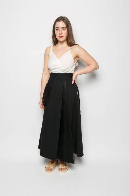 Leur Logette Vintage Linen Wrap Skirt - Black