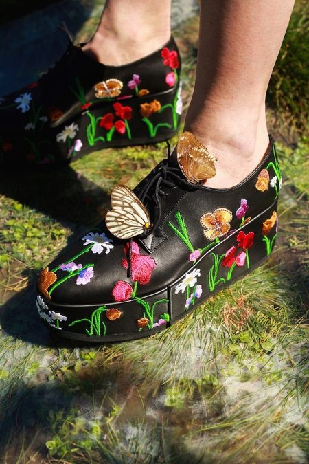 58b5fc8a396b ... Robert Clergerie Anyang Floral Embroidered Leather Oxfords - Black