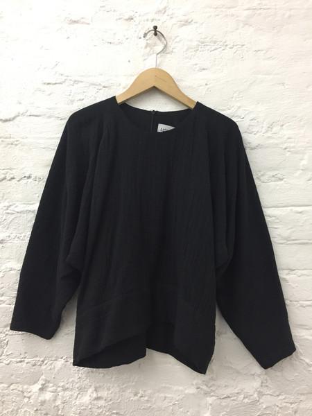 A Détacher Cotton Gauze Ty Top - Black