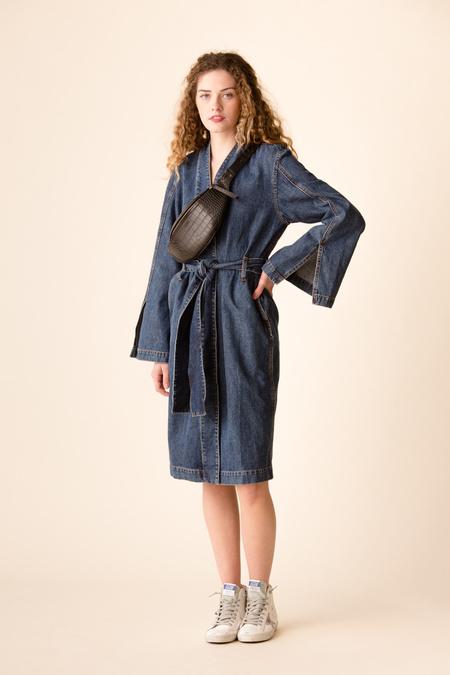 Ganni Blackstone Denim Robe Jacket - Medium Dark