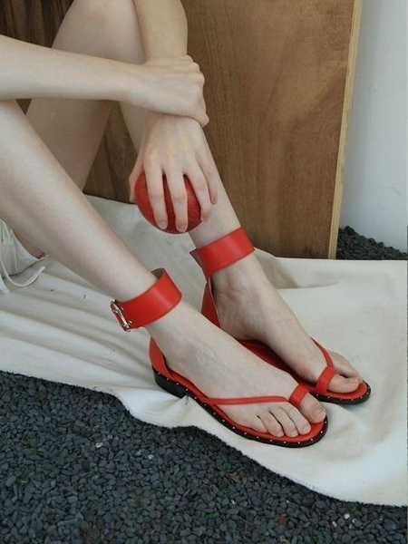 LOYIQ Stud Ankle Strap Sandal - Red
