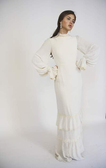 Bird On A Wire Vintage 60s Crepe Victorian Dress - Cream