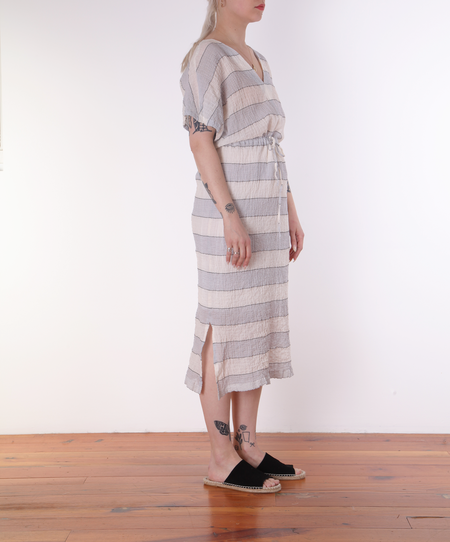 Hartford Rafaelle Drawstring Dress - BLUE/CHARCOAL STRIPES ON CREAM