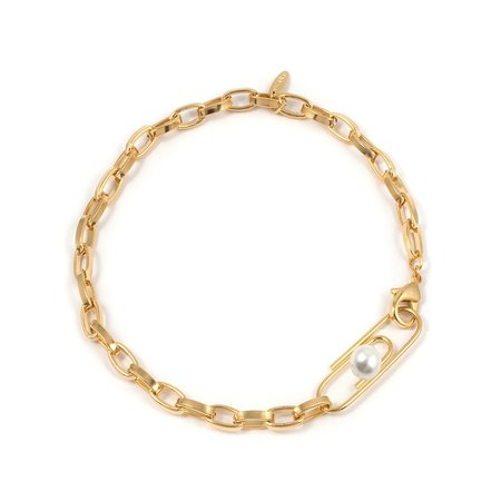 Joomi Lim Chain Necklace with Giant Paperclip & Pearl - Gold/White