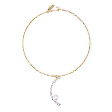 Joomi Lim Choker With Half Crystal Hoop & Pearl - Gold/Crystal/White