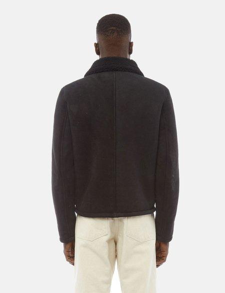 YMC Budgie Sheepskin Suede Coat - Black