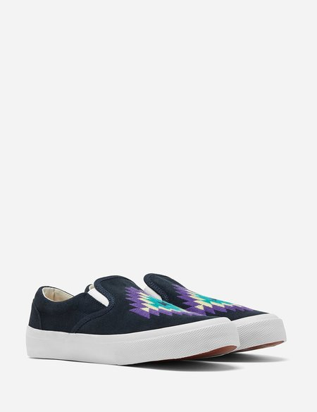 YMC Z-Boy Ikat Suede Trainer - Navy Blue