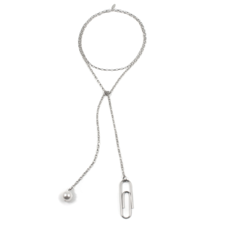 Joomi Lim Lariat Chain Necklace with Giant Paperclip & Pearl - Rhodium/White