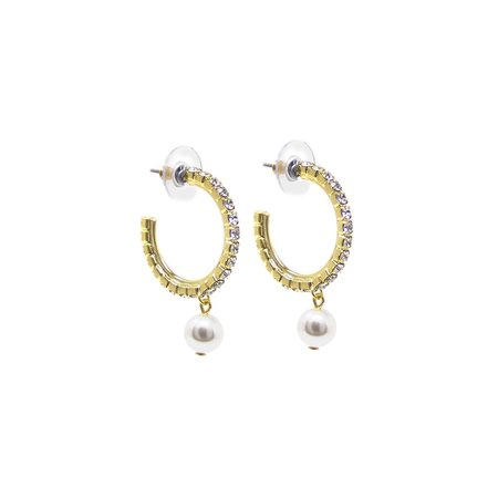 Joomi Lim Mini Crystal Hoop Earrings W/ Pearls