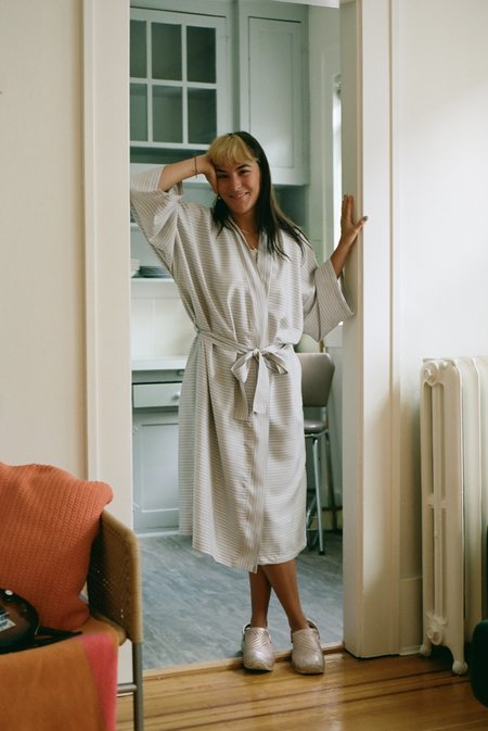 Kinda Sleepwear Silk Family Robe - Patsy Blue
