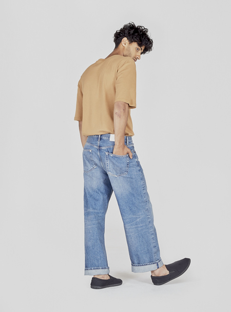 I AND ME Selvedge Wide Leg Jeans - Mid Vintage