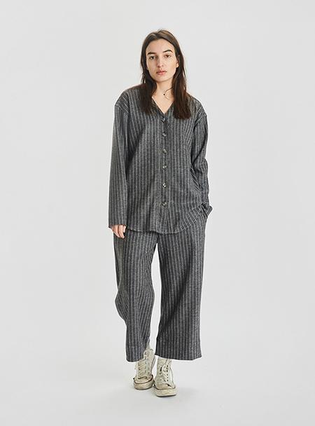 I AND ME Striped Merino Wool Wide Leg Trousers - GREY
