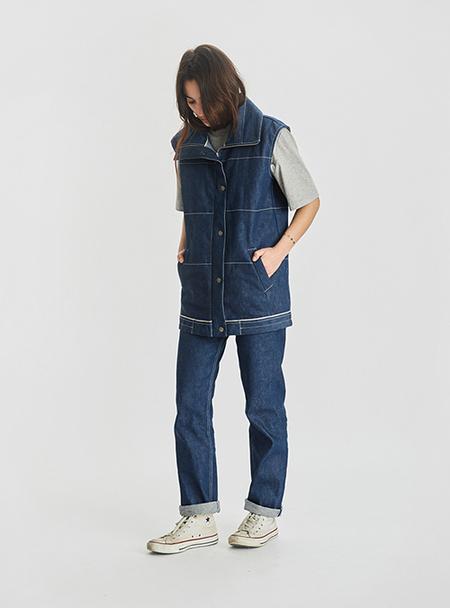 I AND ME Selvedge Denim Sleeveless Jacket - RAW INDIGO