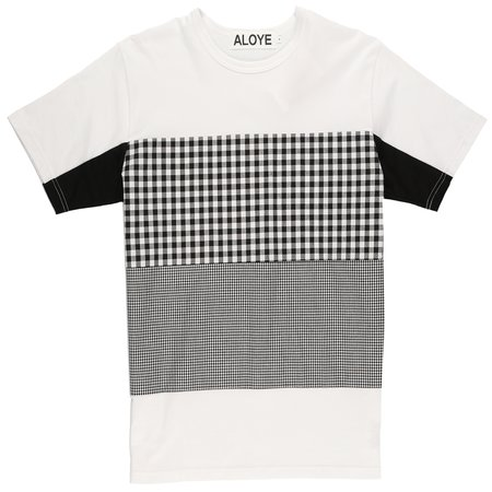 Aloye Fabric Blocks T-Shirt - White/Black Gingham