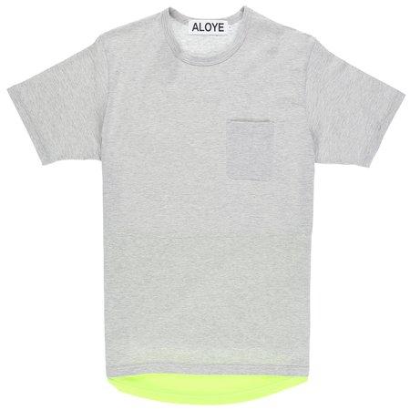Aloye Fabric Layered T-Shirt - Heather Grey/Yellow