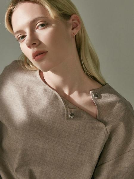 MA JOURNEE Open Neck Wool Blouse - Beige