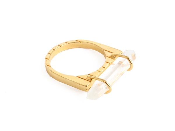 Bones + Feathers Collective Crystal Stacked Bar Ring