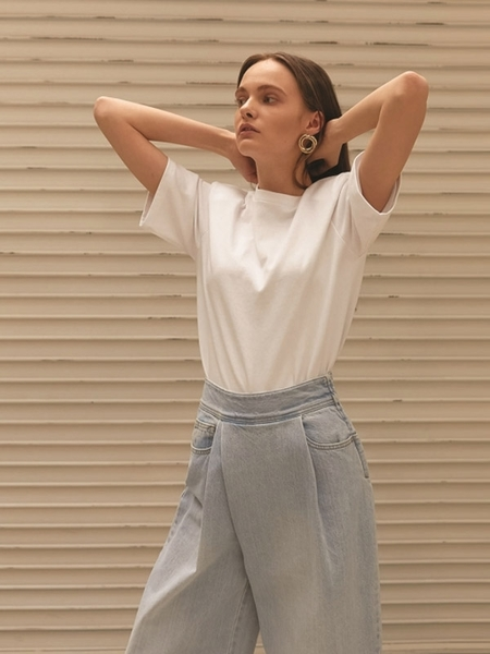 ELLONARC Denim Pleats Tuck Wide Wrap Pants - Light Blue