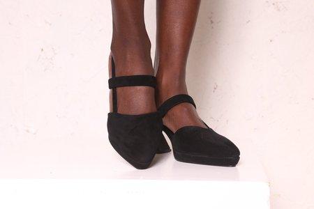 """""""INTENTIONALLY __________."""" Ago Suede Heels - Black"""