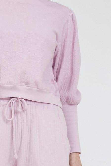 Apiece Apart Olimpio Puff Sleeve Sweatshirt - Lilac