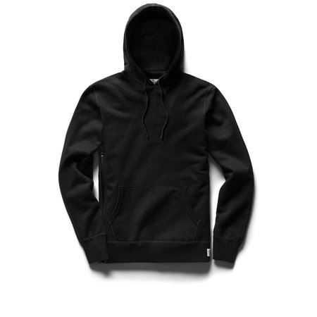 Reigning Champ Mid Weight Terry Side Zip Pullover - Black