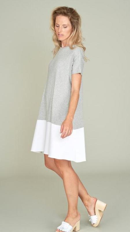 Hubert Gasser Jersey Top Dress - Gray/White