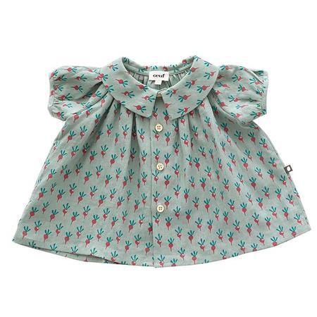 KIDS Oeuf NYC Short Sleeved Blouse - Jadeite Green With Radish Print