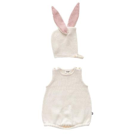 KIDS Oeuf NYC Two Piece Set Romper With Bunny Hat - White