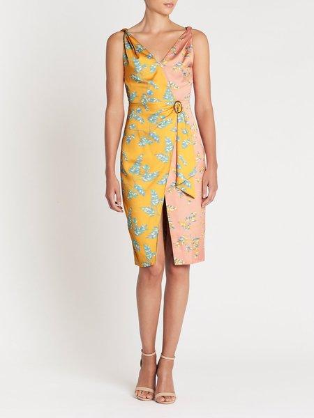 Three Floor Wrap Talk Dress - Digital Print