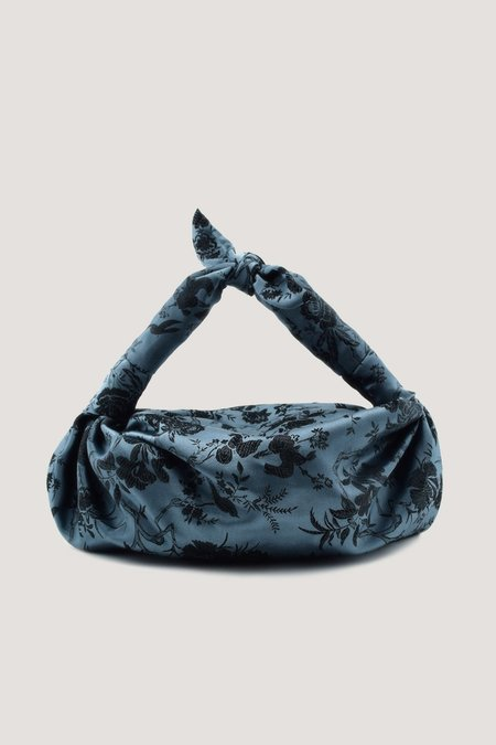 NST STUDIO Blue Silk Cloqué Knot Bag