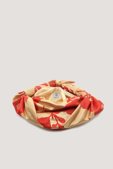 NST STUDIO Silk Cloqué Knot Bag - Red Floral