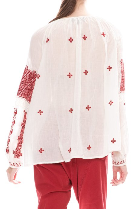 Nili Lotan Alassio Embroidered Top - Ivory/Red