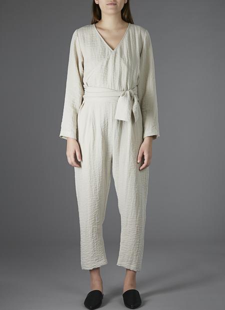 Grei. V-Neck Crossover Ripple Cloth Jumpsuit - Desert
