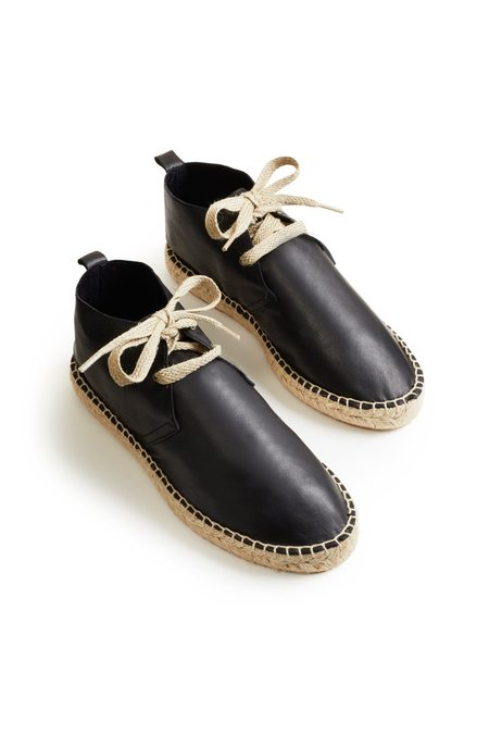 Lisa B. leather bootie espadrille - black