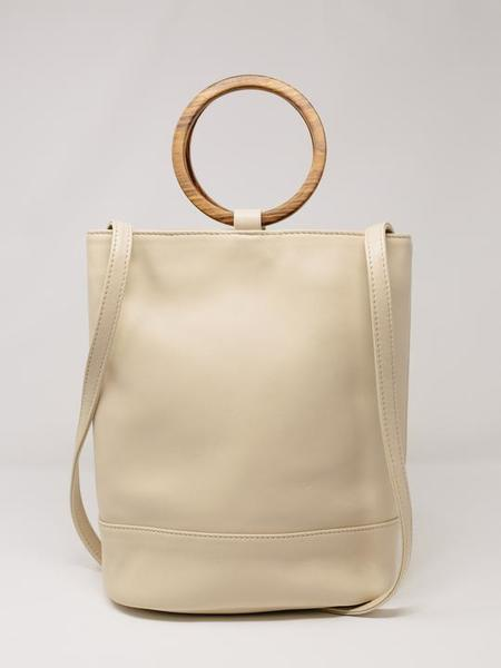 Payton James Wood Handle Leather Bucket Bag - Summer White