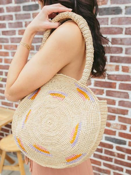Payton James Circle Woven Basket Bag