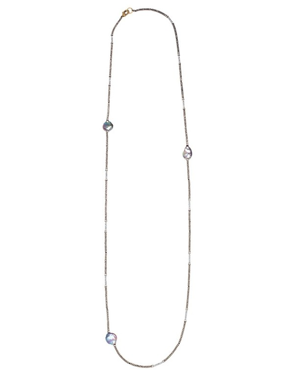 Paula Rosen Pyrite and Freshwater Pearl Long Necklace