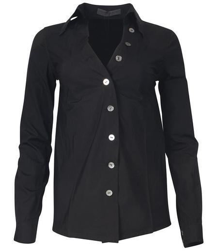 Anika Lenaskarstrom V Neck Popline Shirt - Black