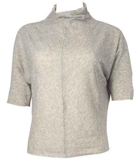 Anika Lenaskarstrom Cotton High Neck T Shirt - Light Grey