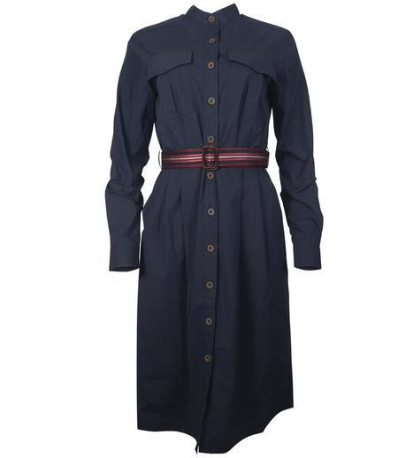 Caliban Belted Shirt Dress - Navy