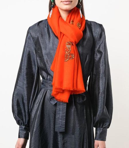K. Janavi Cashmere Scarf - Orange