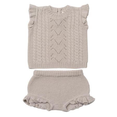 KIDS Bonton Two Piece Set Short Sleeved Shirt And Bloomers - Mastic Grey