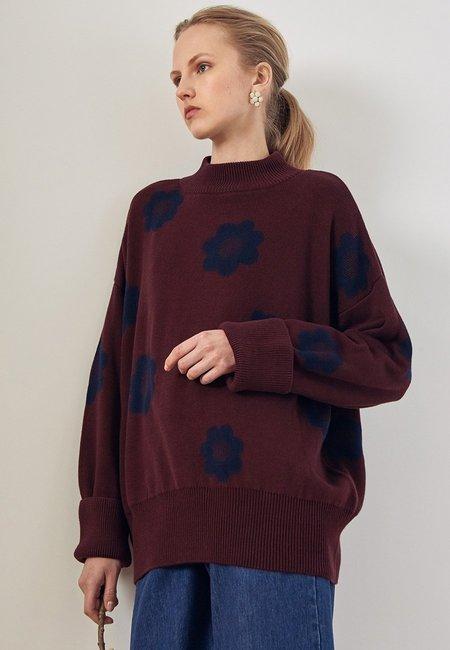 Kowtow Daisy Knit Sweater - Wine