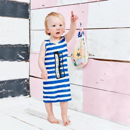 KIDS Noe & Zoe Tank Dress - Blue/White Stripes