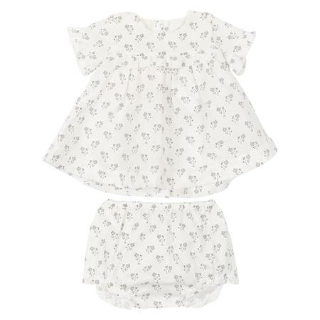 82993cf89 KIDS Petit Bateau Two Piece Set Short Sleeved Dress With Bloomers - White  With Floral Print