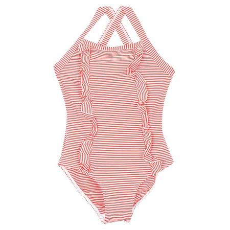 KIDS Petit Bateau One Piece Swimsuit With Ruffles - Pink/White Stripes